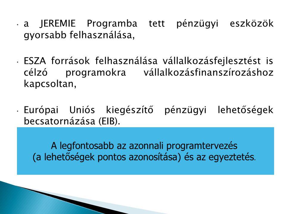 a JEREMIE Programba tett pénzügyi eszközök gyorsabb felhasználása, ESZA források felhasználása vállalkozásfejlesztést is célzó programokra vállalkozás
