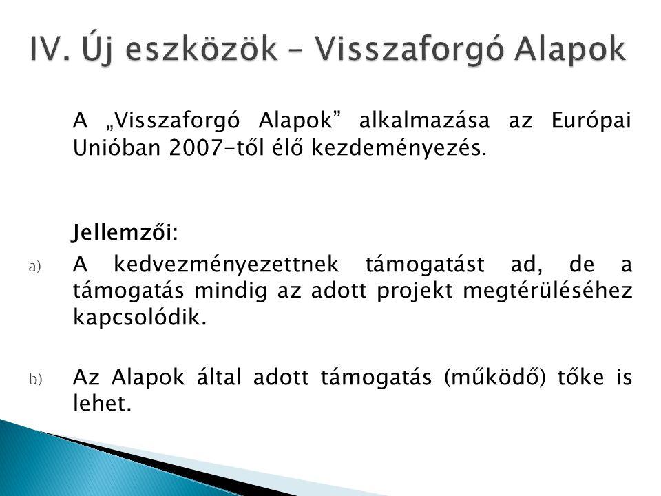 """A """"Visszaforgó Alapok"""" alkalmazása az Európai Unióban 2007-től élő kezdeményezés. Jellemzői: a) A kedvezményezettnek támogatást ad, de a támogatás min"""