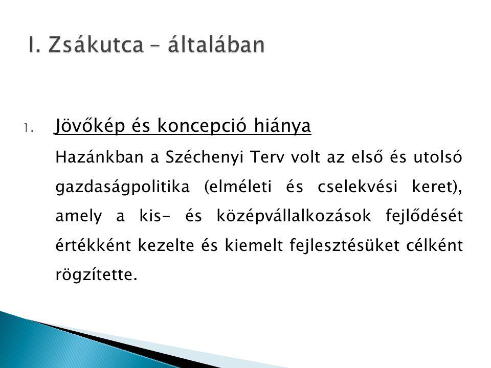 1. Jövőkép és koncepció hiánya Hazánkban a Széchenyi Terv volt az első és utolsó gazdaságpolitika (elméleti és cselekvési keret), amely a kis- és közé