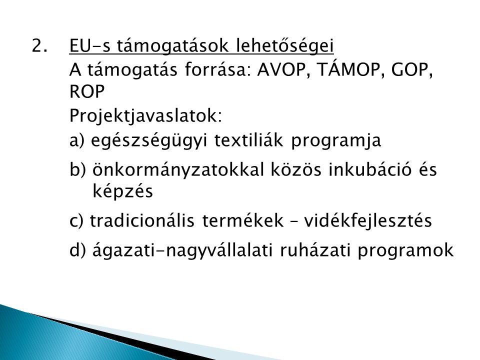 2.EU-s támogatások lehetőségei A támogatás forrása: AVOP, TÁMOP, GOP, ROP Projektjavaslatok: a) egészségügyi textiliák programja b) önkormányzatokkal