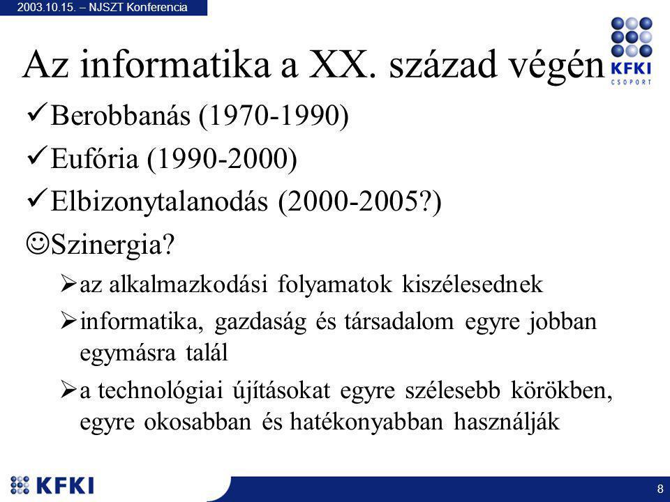 2003.10.15. – NJSZT Konferencia 8 Az informatika a XX.