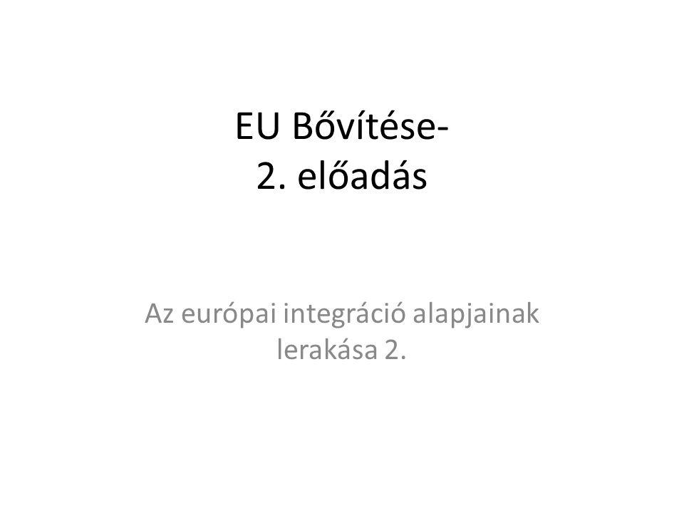 EU Bővítése- 2. előadás Az európai integráció alapjainak lerakása 2.