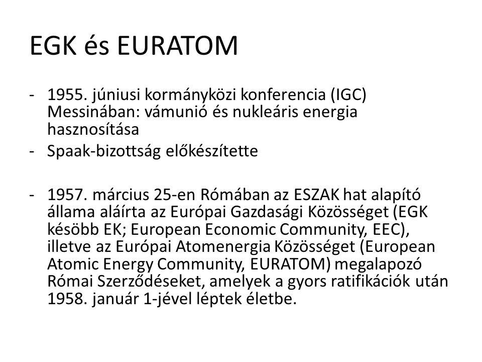 EGK és EURATOM -1955. júniusi kormányközi konferencia (IGC) Messinában: vámunió és nukleáris energia hasznosítása -Spaak-bizottság előkészítette -1957