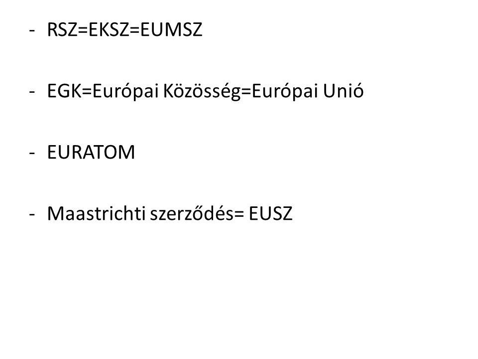 -RSZ=EKSZ=EUMSZ -EGK=Európai Közösség=Európai Unió -EURATOM -Maastrichti szerződés= EUSZ