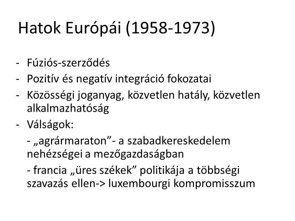 Hatok Európái (1958-1973) -Fúziós-szerződés -Pozitív és negatív integráció fokozatai -Közösségi joganyag, közvetlen hatály, közvetlen alkalmazhatóság