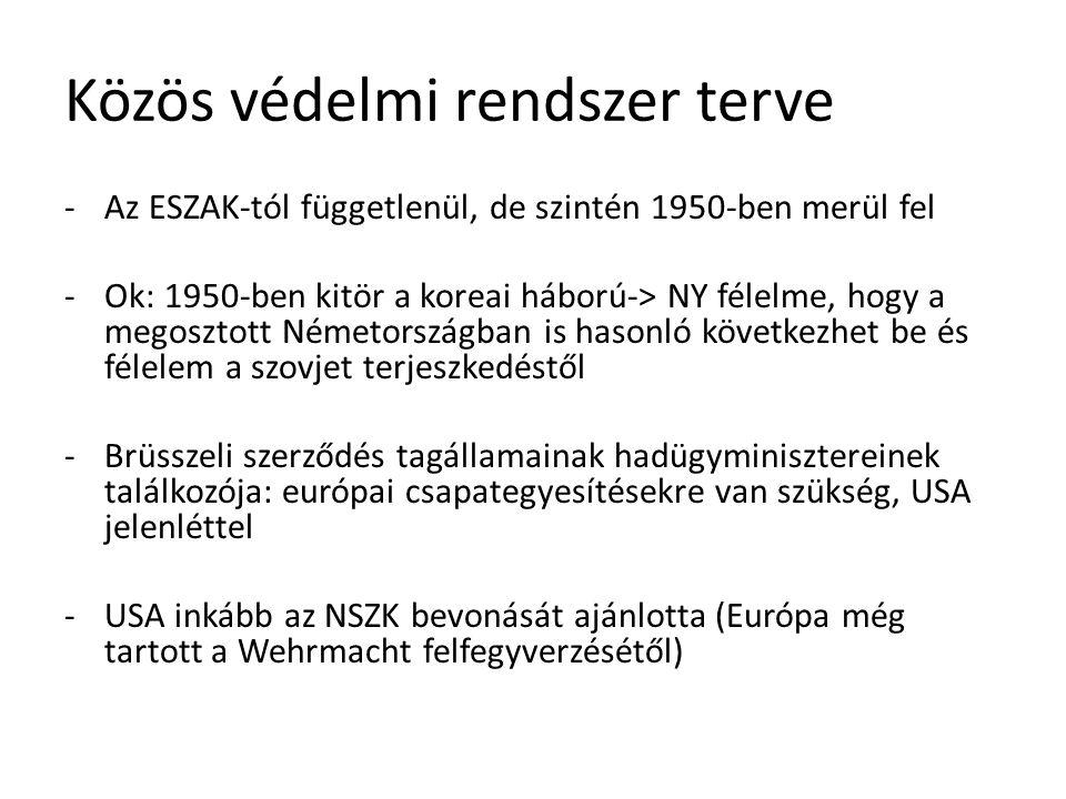 Közös védelmi rendszer terve -Az ESZAK-tól függetlenül, de szintén 1950-ben merül fel -Ok: 1950-ben kitör a koreai háború-> NY félelme, hogy a megoszt