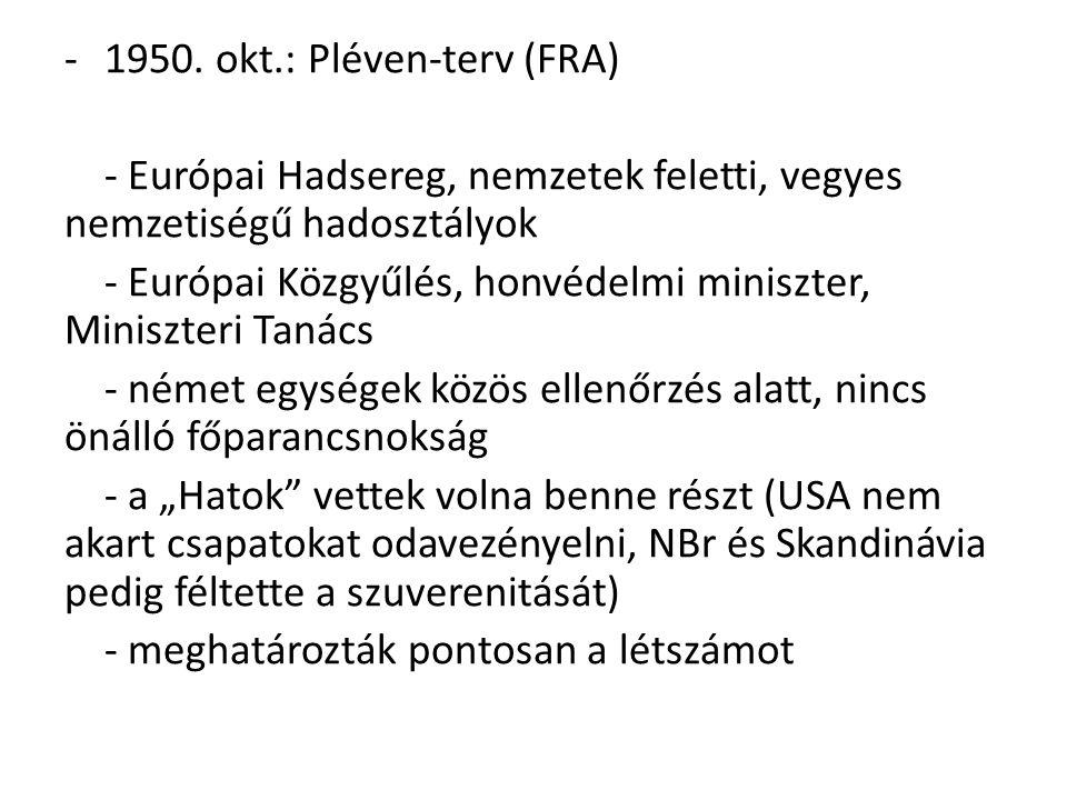 -1950. okt.: Pléven-terv (FRA) - Európai Hadsereg, nemzetek feletti, vegyes nemzetiségű hadosztályok - Európai Közgyűlés, honvédelmi miniszter, Minisz