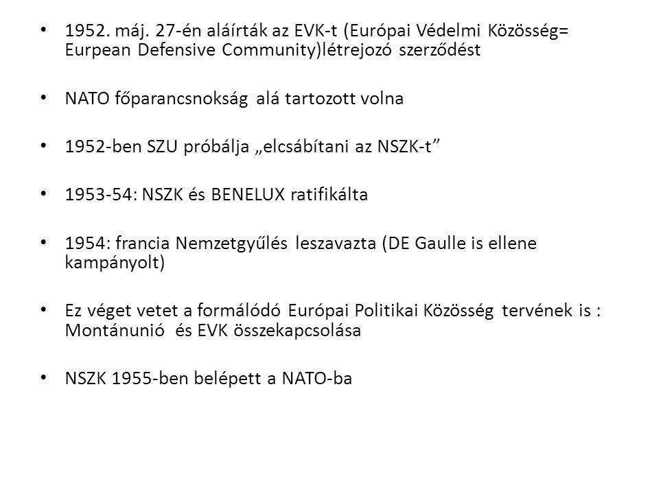 NYEU -EVK és EPK kudarca, kevésbé szupranacionális szerv kell - -Brüsszeli szerződés módosítása (már nem a német agresszió ellen)-> NSZK és ITA is beléphessen -1954 (Nyugat-Európai Unió), 50 évre -NSZK helyzetének rendezése, megszállás vége -Kollektív védelem a cél; NATO mellett gyenge -Egyeztető fórum, katonai integráció helyett fegyverzet- ellenőrzés (2000-ben vége, beemelték az EU-ba)