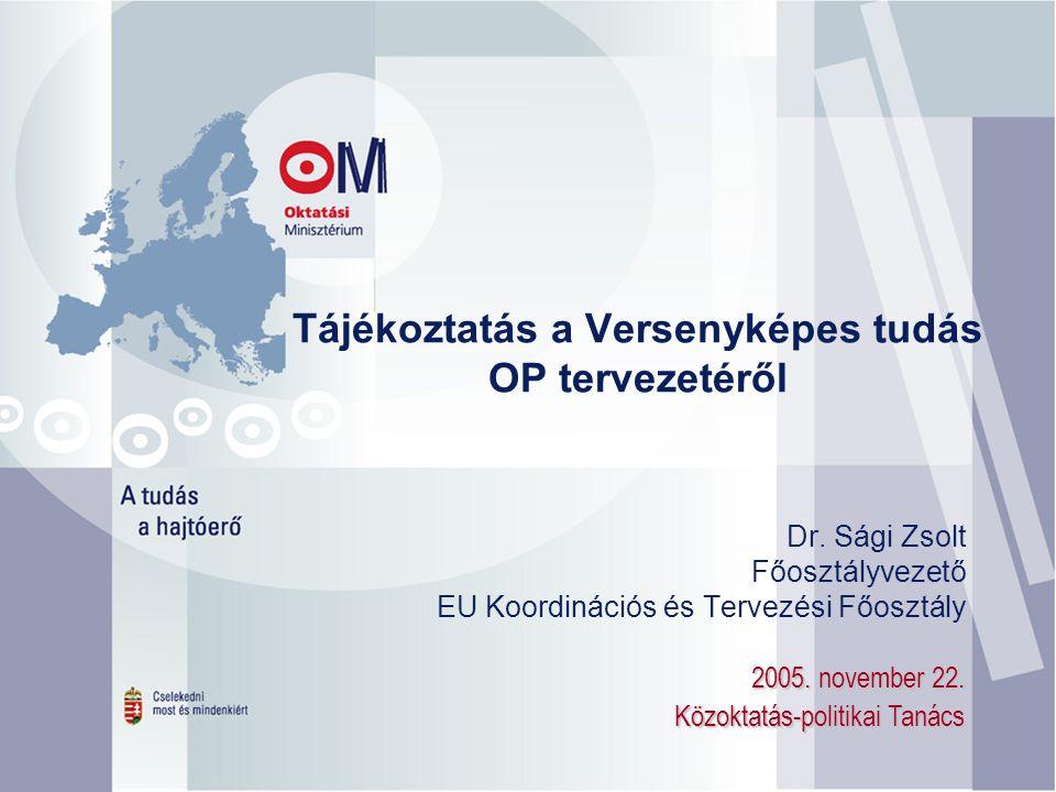 Tájékoztatás a Versenyképes tudás OP tervezetéről 2005.