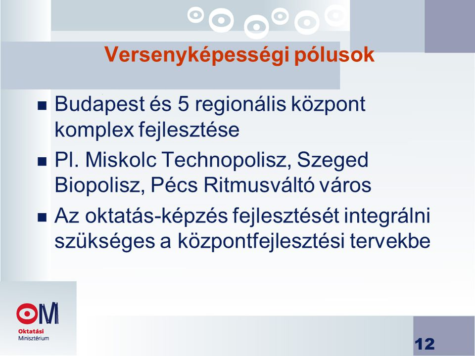 12 Versenyképességi pólusok n Budapest és 5 regionális központ komplex fejlesztése n Pl.
