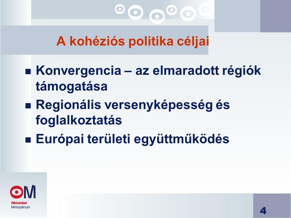 4 A kohéziós politika céljai n Konvergencia – az elmaradott régiók támogatása n Regionális versenyképesség és foglalkoztatás n Európai területi együttműködés