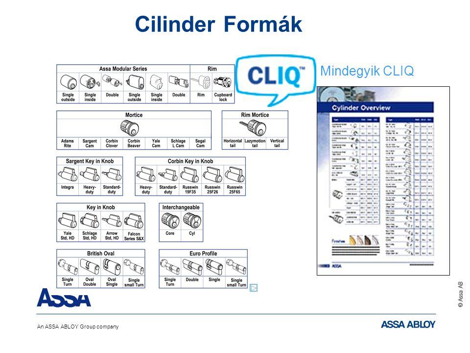An ASSA ABLOY Group company © Assa AB Cilinder Formák Mindegyik CLIQ