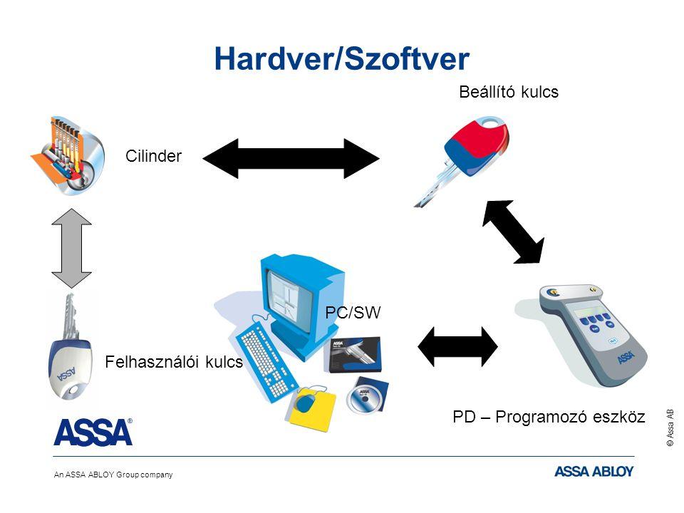 An ASSA ABLOY Group company © Assa AB Hardver/Szoftver PC/SW PD – Programozó eszköz Beállító kulcs Felhasználói kulcs Cilinder