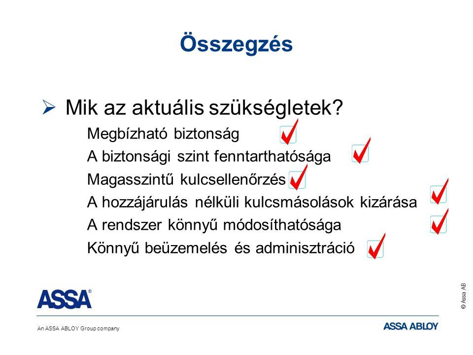 An ASSA ABLOY Group company © Assa AB Összegzés  Mik az aktuális szükségletek? Megbízható biztonság A biztonsági szint fenntarthatósága Magasszintű k