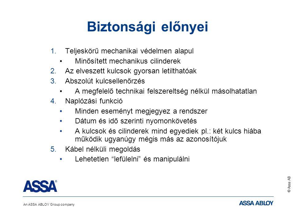 An ASSA ABLOY Group company © Assa AB Biztonsági előnyei 1.Teljeskörű mechanikai védelmen alapul Minősített mechanikus cilinderek 2.Az elveszett kulcs