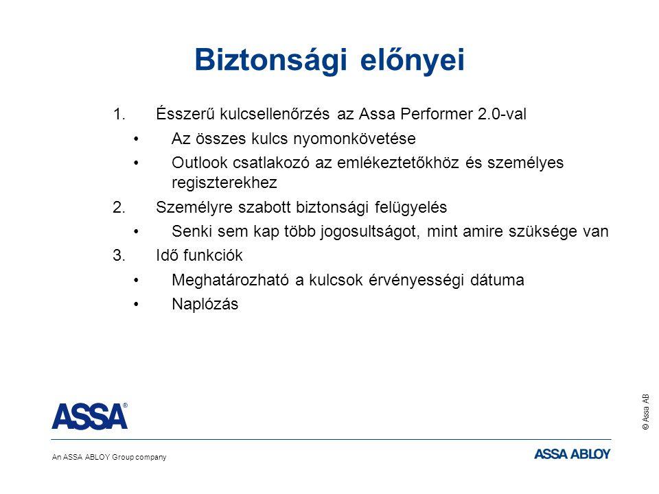An ASSA ABLOY Group company © Assa AB Biztonsági előnyei 1.Ésszerű kulcsellenőrzés az Assa Performer 2.0-val Az összes kulcs nyomonkövetése Outlook csatlakozó az emlékeztetőkhöz és személyes regiszterekhez 2.Személyre szabott biztonsági felügyelés Senki sem kap több jogosultságot, mint amire szüksége van 3.Idő funkciók Meghatározható a kulcsok érvényességi dátuma Naplózás