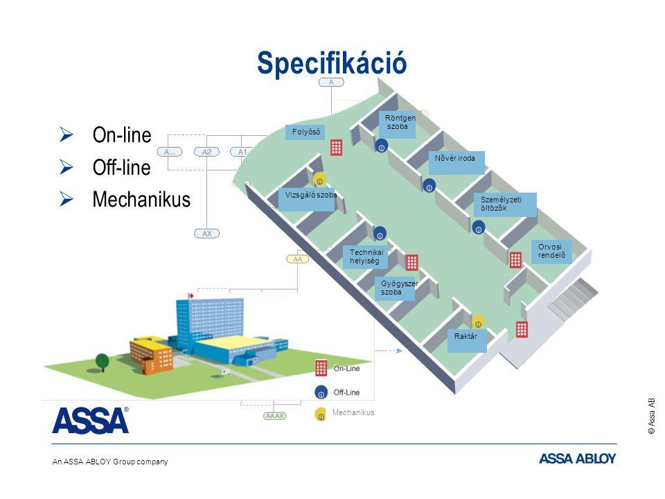 An ASSA ABLOY Group company © Assa AB l Specifikáció  On-line  Off-line  Mechanikus Vizsgáló szoba Röntgen szoba Nővér iroda Személyzeti öltözők Orvosi rendelő Raktár Gyógyszer szoba Technikai helyiség Folyósó Mechanikus