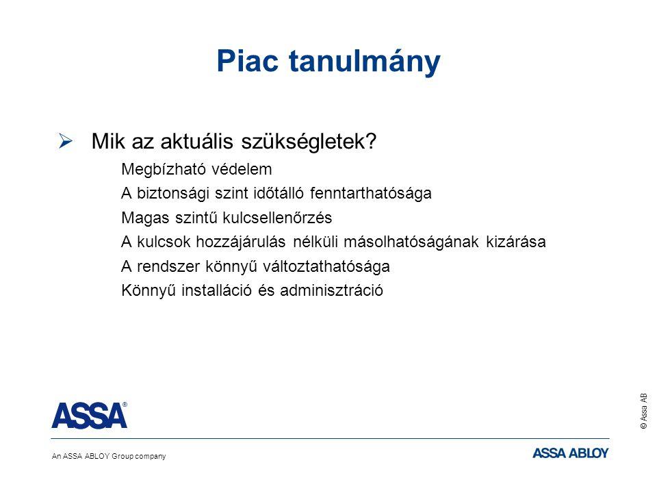 An ASSA ABLOY Group company © Assa AB Piac tanulmány  Mik az aktuális szükségletek? Megbízható védelem A biztonsági szint időtálló fenntarthatósága M