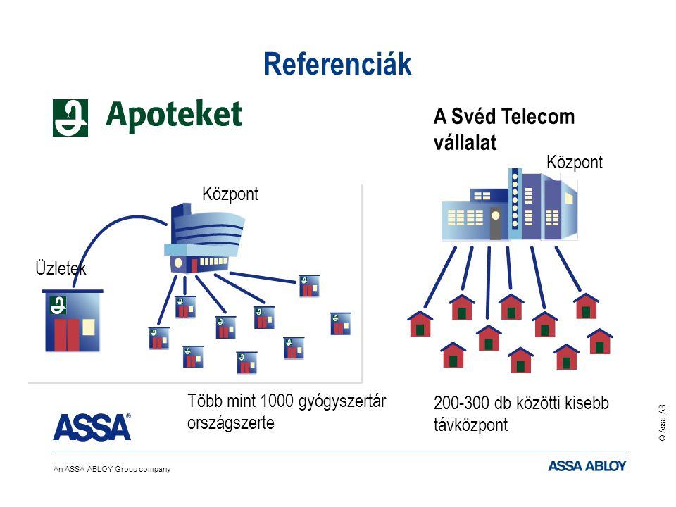 An ASSA ABLOY Group company © Assa AB Referenciák Több mint 1000 gyógyszertár országszerte Központ Üzletek A Svéd Telecom vállalat 200-300 db közötti kisebb távközpont Központ