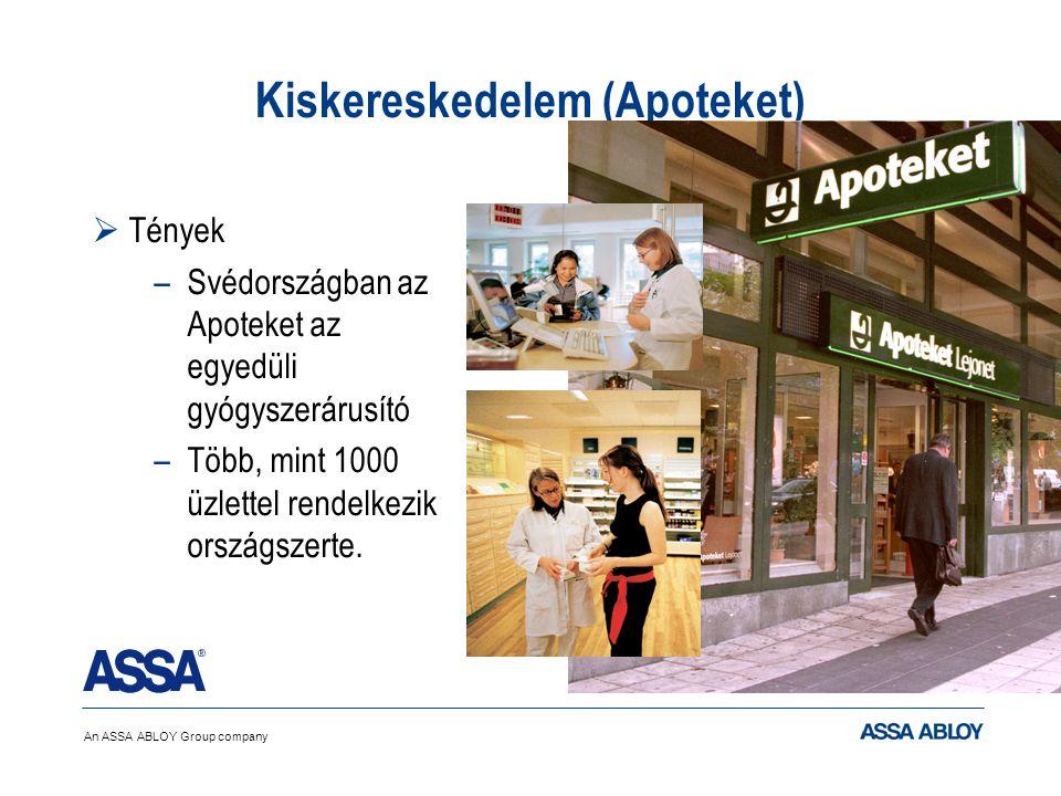 An ASSA ABLOY Group company © Assa AB Kiskereskedelem (Apoteket)  Tények –Svédországban az Apoteket az egyedüli gyógyszerárusító –Több, mint 1000 üzl