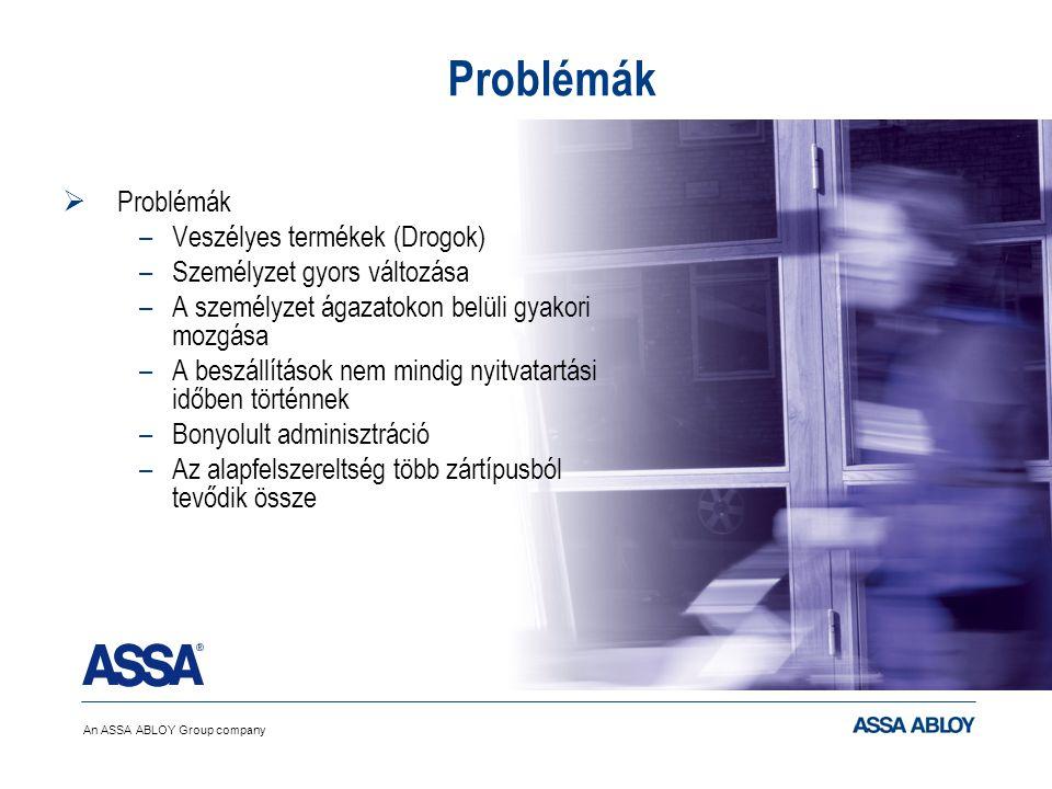 An ASSA ABLOY Group company © Assa AB Problémák  Problémák –Veszélyes termékek (Drogok) –Személyzet gyors változása –A személyzet ágazatokon belüli g