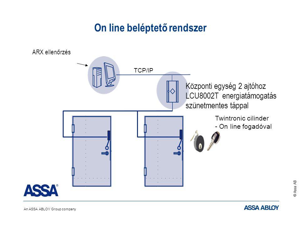 An ASSA ABLOY Group company © Assa AB ARX ellenőrzés On line beléptető rendszer TCP/IP Twintronic cilinder - On line fogadóval Központi egység 2 ajtóh