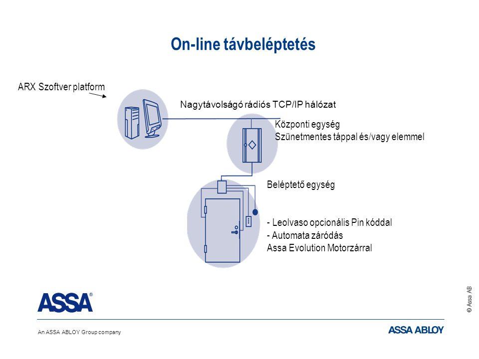 An ASSA ABLOY Group company © Assa AB ARX Szoftver platform On-line távbeléptetés Nagytávolságó rádiós TCP/IP hálózat Beléptető egység Központi egység Szünetmentes táppal és/vagy elemmel - Leolvaso opcionális Pin kóddal - Automata záródás Assa Evolution Motorzárral