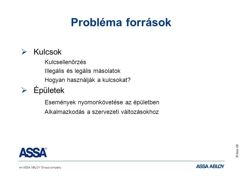 An ASSA ABLOY Group company © Assa AB Probléma források  Kulcsok Kulcsellenőrzés Illegális és legális másolatok Hogyan használják a kulcsokat?  Épül