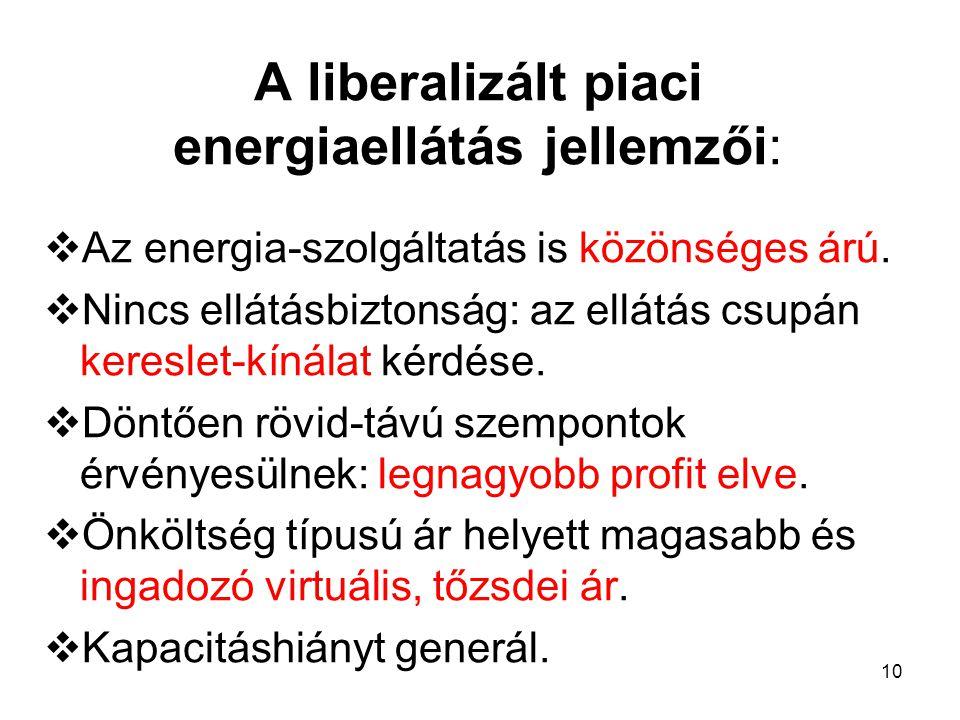 10 A liberalizált piaci energiaellátás jellemzői:  Az energia-szolgáltatás is közönséges árú.  Nincs ellátásbiztonság: az ellátás csupán kereslet-kí