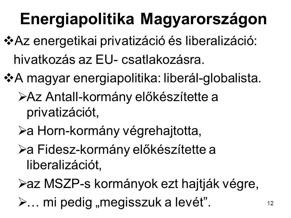 12 Energiapolitika Magyarországon  Az energetikai privatizáció és liberalizáció: hivatkozás az EU- csatlakozásra.  A magyar energiapolitika: liberál