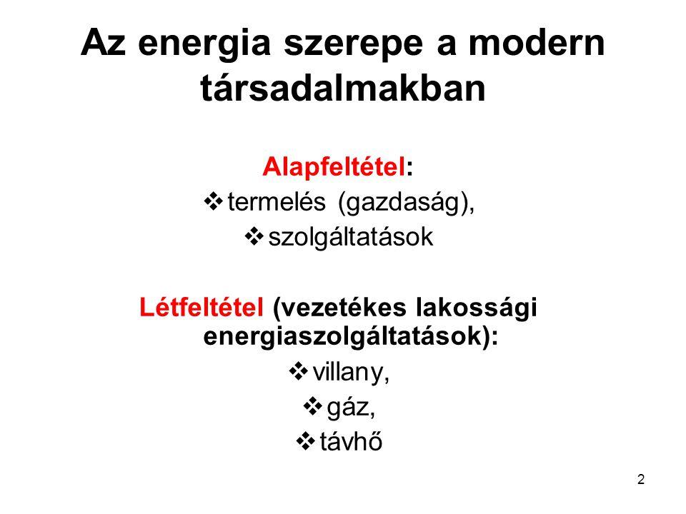 2 Az energia szerepe a modern társadalmakban Alapfeltétel:  termelés (gazdaság),  szolgáltatások Létfeltétel (vezetékes lakossági energiaszolgáltatások):  villany,  gáz,  távhő
