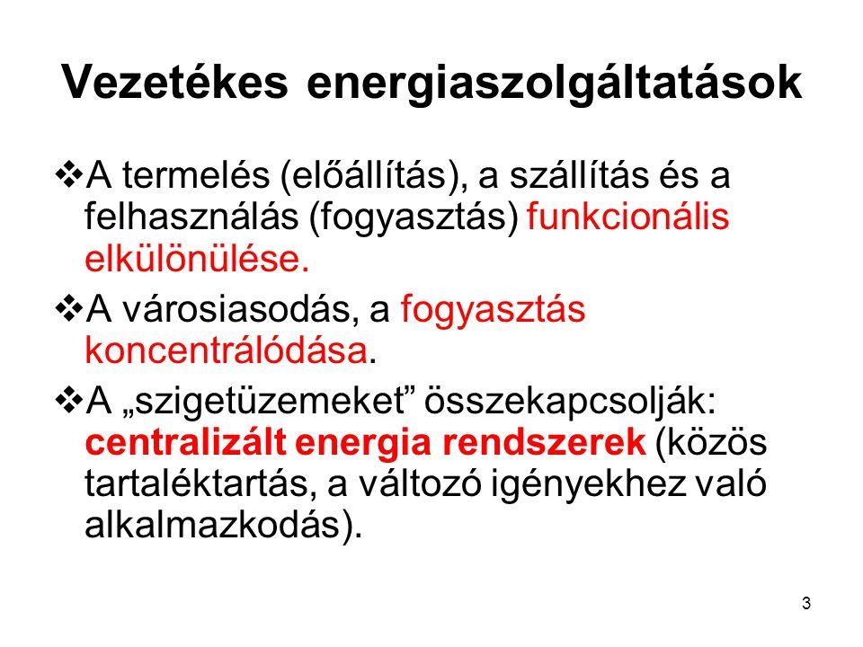 3 Vezetékes energiaszolgáltatások  A termelés (előállítás), a szállítás és a felhasználás (fogyasztás) funkcionális elkülönülése.  A városiasodás, a