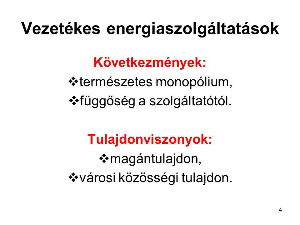 4 Vezetékes energiaszolgáltatások Következmények:  természetes monopólium,  függőség a szolgáltatótól. Tulajdonviszonyok:  magántulajdon,  városi