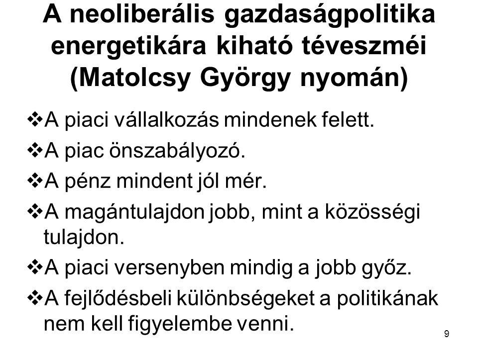 9 A neoliberális gazdaságpolitika energetikára kiható téveszméi (Matolcsy György nyomán)  A piaci vállalkozás mindenek felett.  A piac önszabályozó.