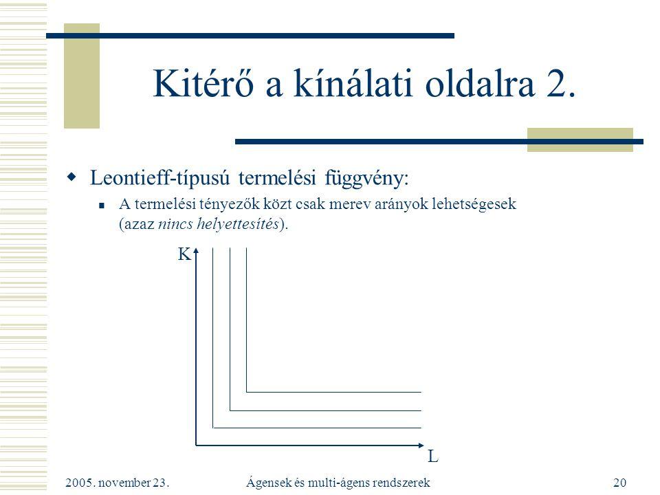 2005. november 23. Ágensek és multi-ágens rendszerek20 Kitérő a kínálati oldalra 2.