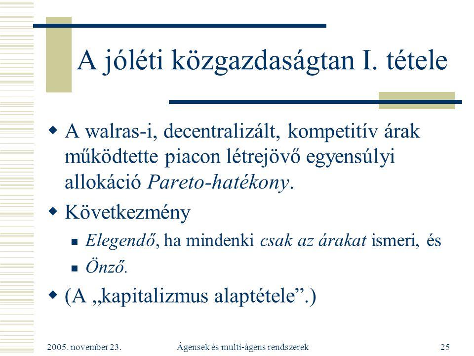 2005. november 23. Ágensek és multi-ágens rendszerek25 A jóléti közgazdaságtan I.