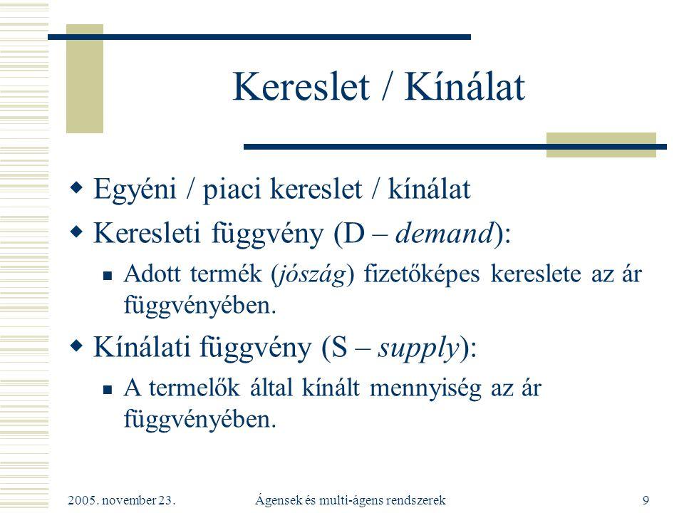 2005.november 23. Ágensek és multi-ágens rendszerek30 Aukció tárgya  Lehet Egyetlen jószág (pl.