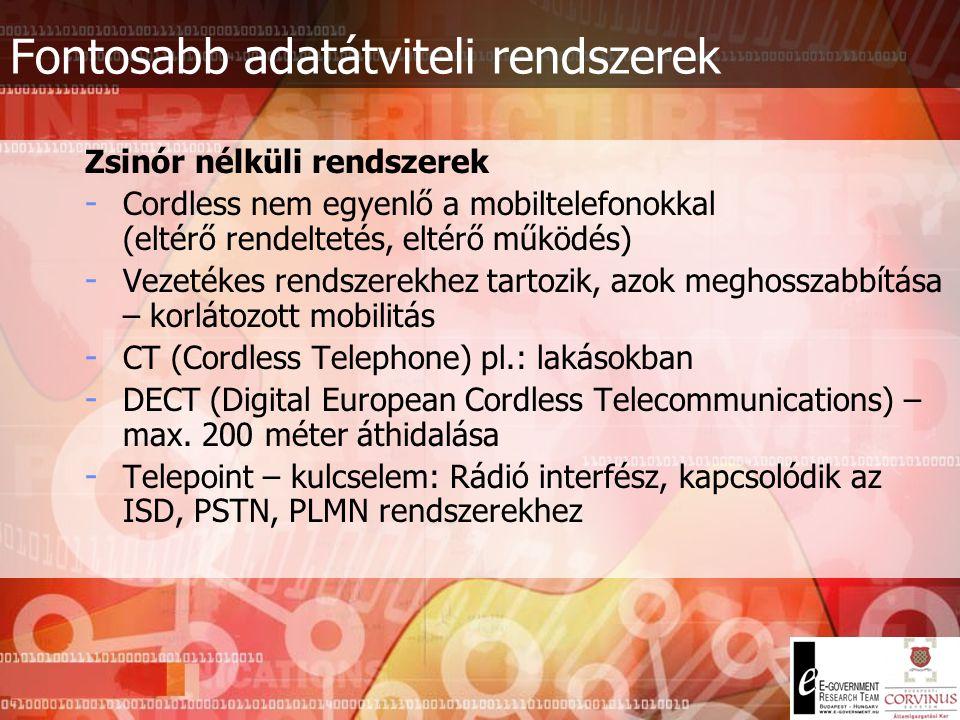Fontosabb adatátviteli rendszerek Analóg rendszerek - Hierarchikus felépítésű rendszer (ennek megfelelő számkiosztás) - Digitális – ISDN; Analóg – PST