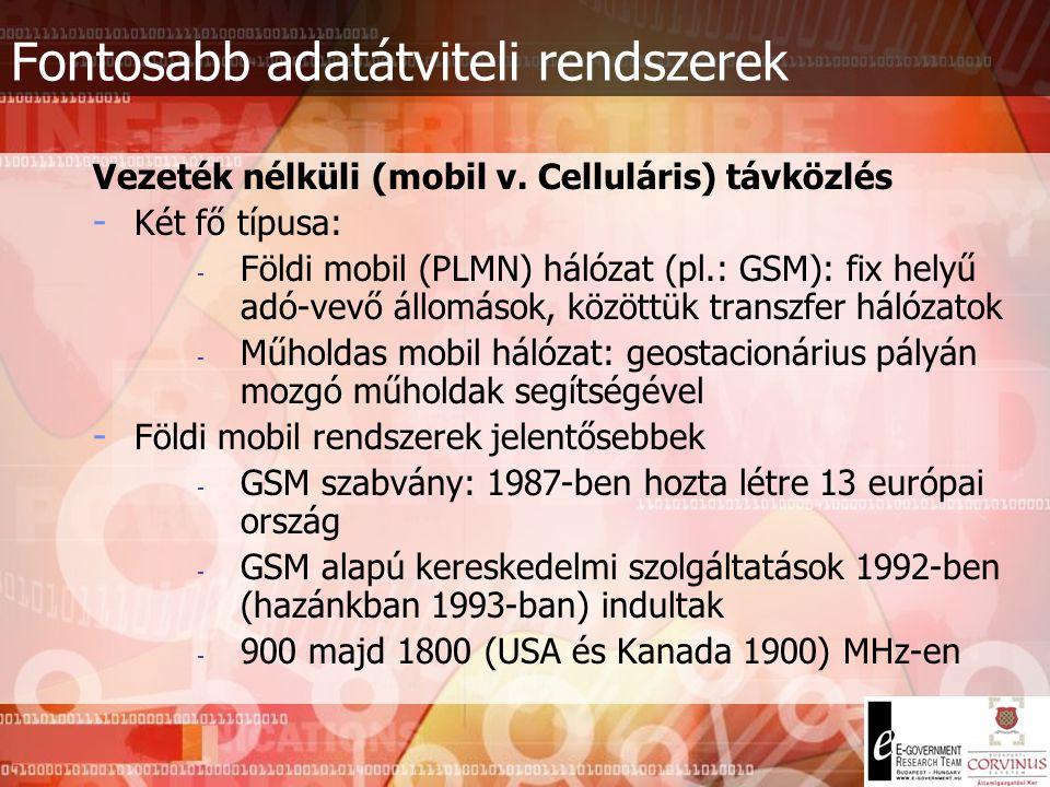Fontosabb adatátviteli rendszerek Műholdas rendszerek - Orbitális pályán számos műhold kering - Műholdas szervezetek: INTELSAT, EUTELSAT, IMMARSAT, IN