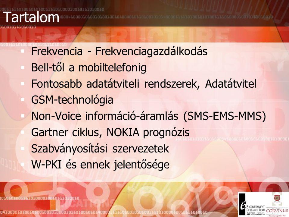 GSM Tecnhológia  SIM kártya: Subscriber Identity Module  Szabványosított méretű és tulajdonságú chipkártya  Egy chipből felépülő miniszámítógép  Tartalmazza többek között:  PIN és PUK kódok tárolása  Telefonkönyv (eredetileg 100, napjainkban 200 név és szám tárolására alkalmas) tárolása  SMS-ek tárolása  Többletszolgáltatások, illetve az ezekre való jogosultság tárolása  Olyan biztonsági algoritmus tárolása, mely a SIM tulajdonosát védi illetéktelen személyekkel szemben  Tartalmaz ROM-ot és RAM-ot, könnyen tölthető rá bármilyen szoftver (pl.: m-aláírás – w-pki)  A kártyák egyre többet tudnak, ezért cserére érnek