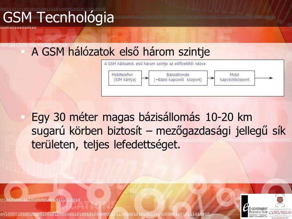 Fontosabb adatátviteli rendszerek Vezeték nélküli (mobil v. Celluláris) távközlés - Két fő típusa: - Földi mobil (PLMN) hálózat (pl.: GSM): fix helyű