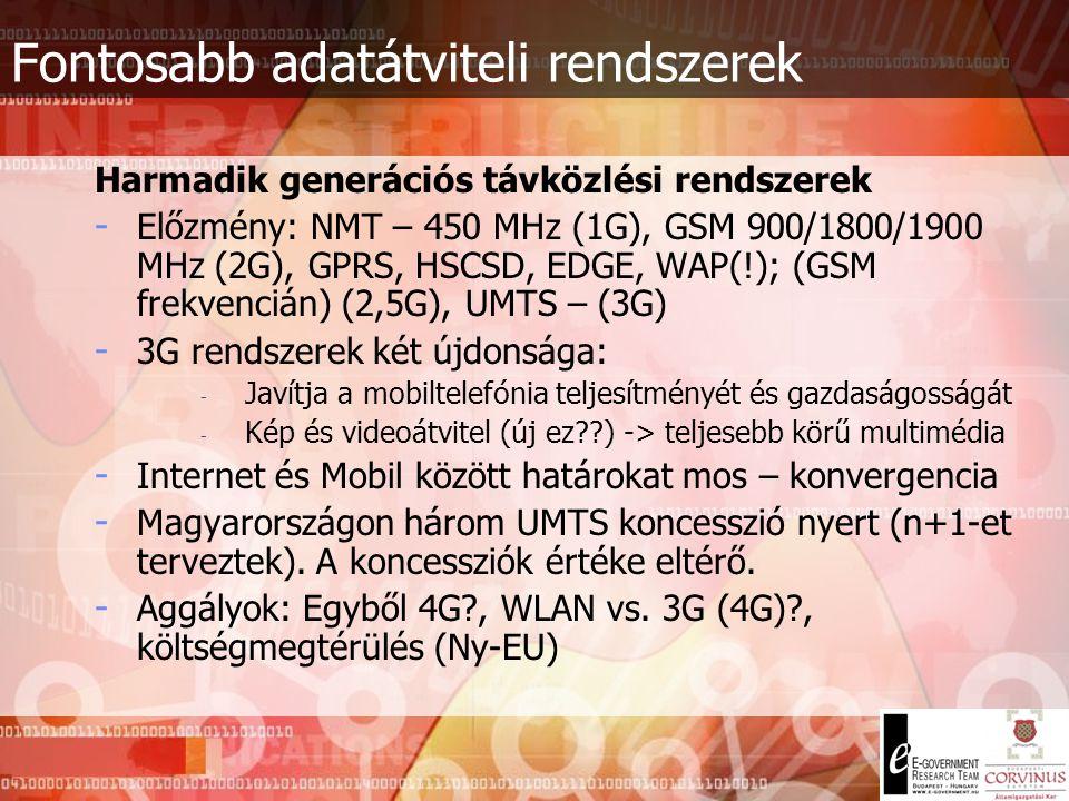 Fontosabb adatátviteli rendszerek Szórt spektrumú rádiórendszerek - Legismertebb: CDMA (Code Division Multiple Access) - A Küldő a keskenysávú jelet s