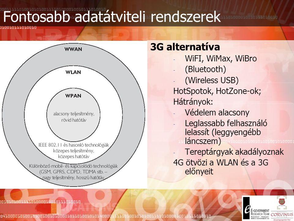 Fontosabb adatátviteli rendszerek Harmadik generációs távközlési rendszerek - Előzmény: NMT – 450 MHz (1G), GSM 900/1800/1900 MHz (2G), GPRS, HSCSD, E