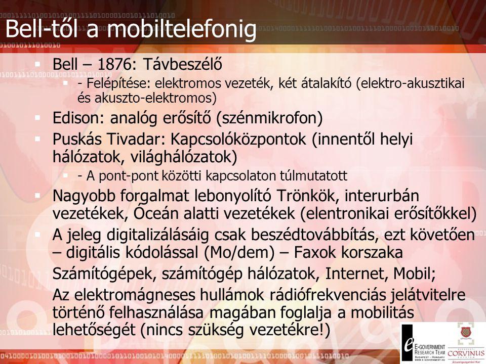 Bell-től a mobiltelefonig  Bell – 1876: Távbeszélő  - Felépítése: elektromos vezeték, két átalakító (elektro-akusztikai és akuszto-elektromos)  Edison: analóg erősítő (szénmikrofon)  Puskás Tivadar: Kapcsolóközpontok (innentől helyi hálózatok, világhálózatok)  - A pont-pont közötti kapcsolaton túlmutatott  Nagyobb forgalmat lebonyolító Trönkök, interurbán vezetékek, Óceán alatti vezetékek (elentronikai erősítőkkel)  A jeleg digitalizálásáig csak beszédtovábbítás, ezt követően – digitális kódolással (Mo/dem) – Faxok korszaka Számítógépek, számítógép hálózatok, Internet, Mobil; Az elektromágneses hullámok rádiófrekvenciás jelátvitelre történő felhasználása magában foglalja a mobilitás lehetőségét (nincs szükség vezetékre!)