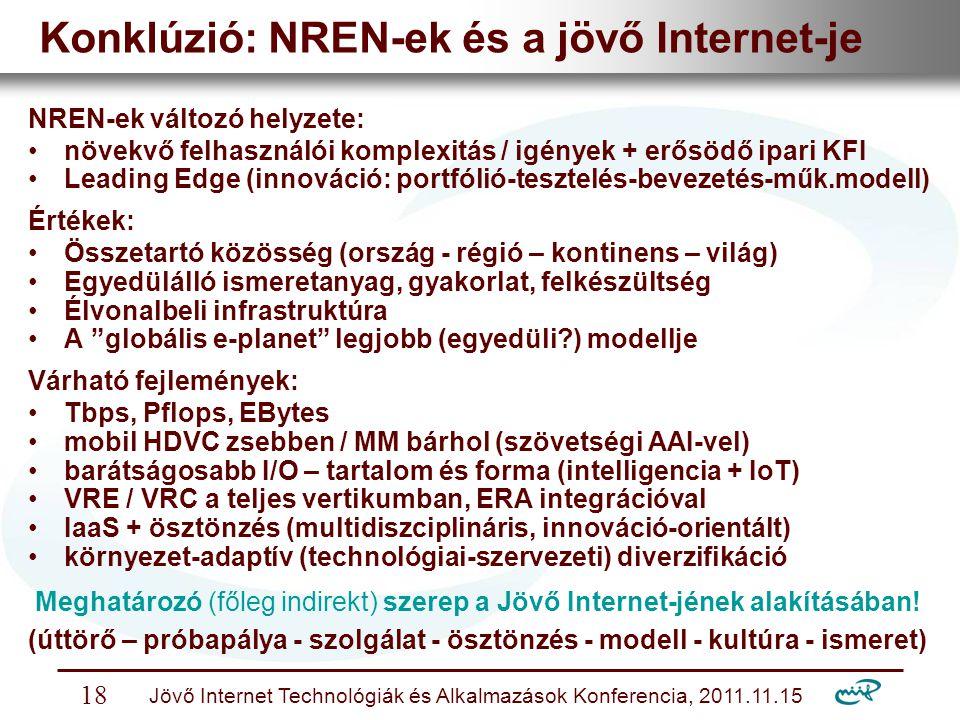 Nemzeti Információs Infrastruktúra Fejlesztési Intézet Jövő Internet Technológiák és Alkalmazások Konferencia, 2011.11.15 18 Konklúzió: NREN-ek és a jövő Internet-je NREN-ek változó helyzete: növekvő felhasználói komplexitás / igények + erősödő ipari KFI Leading Edge (innováció: portfólió-tesztelés-bevezetés-műk.modell) Értékek: Összetartó közösség (ország - régió – kontinens – világ) Egyedülálló ismeretanyag, gyakorlat, felkészültség Élvonalbeli infrastruktúra A globális e-planet legjobb (egyedüli?) modellje Várható fejlemények: Tbps, Pflops, EBytes mobil HDVC zsebben / MM bárhol (szövetségi AAI-vel) barátságosabb I/O – tartalom és forma (intelligencia + IoT) VRE / VRC a teljes vertikumban, ERA integrációval IaaS + ösztönzés (multidiszciplináris, innováció-orientált) környezet-adaptív (technológiai-szervezeti) diverzifikáció Meghatározó (főleg indirekt) szerep a Jövő Internet-jének alakításában.