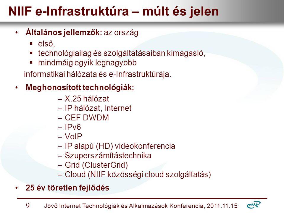 Nemzeti Információs Infrastruktúra Fejlesztési Intézet Jövő Internet Technológiák és Alkalmazások Konferencia, 2011.11.15 9 NIIF e-Infrastruktúra – múlt és jelen Általános jellemzők: az ország  első,  technológiailag és szolgáltatásaiban kimagasló,  mindmáig egyik legnagyobb informatikai hálózata és e-Infrastruktúrája.
