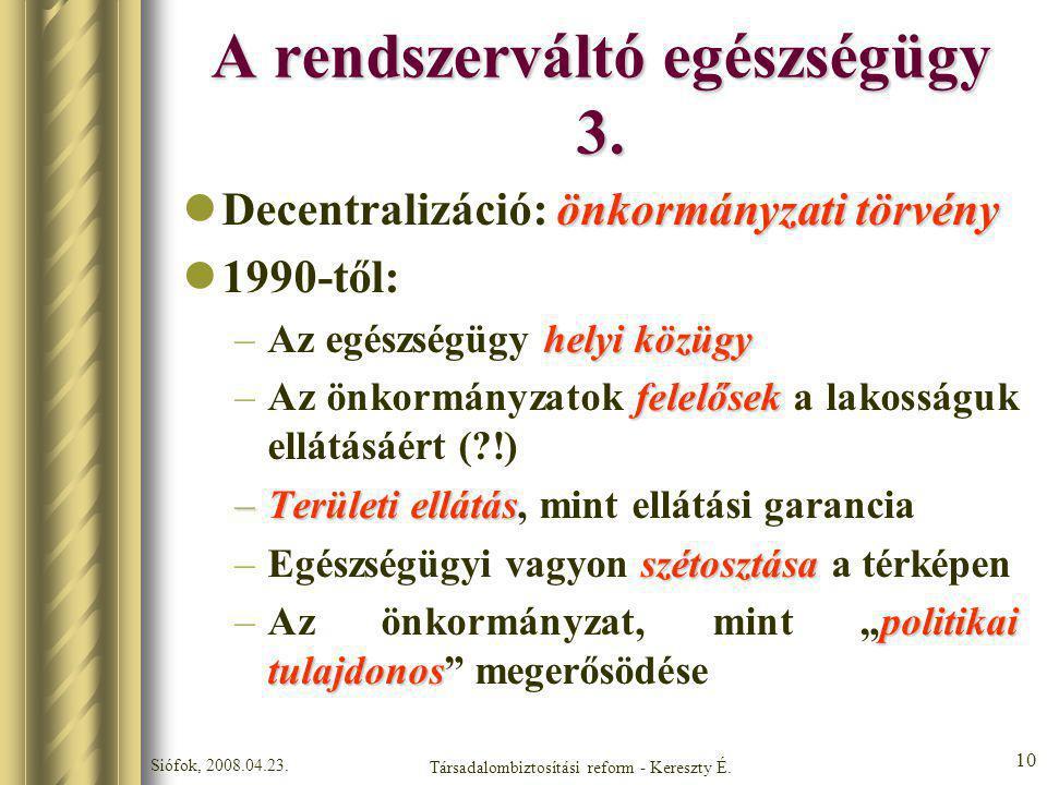 Siófok, 2008.04.23. Társadalombiztosítási reform - Kereszty É. 10 A rendszerváltó egészségügy 3. önkormányzati törvény Decentralizáció: önkormányzati