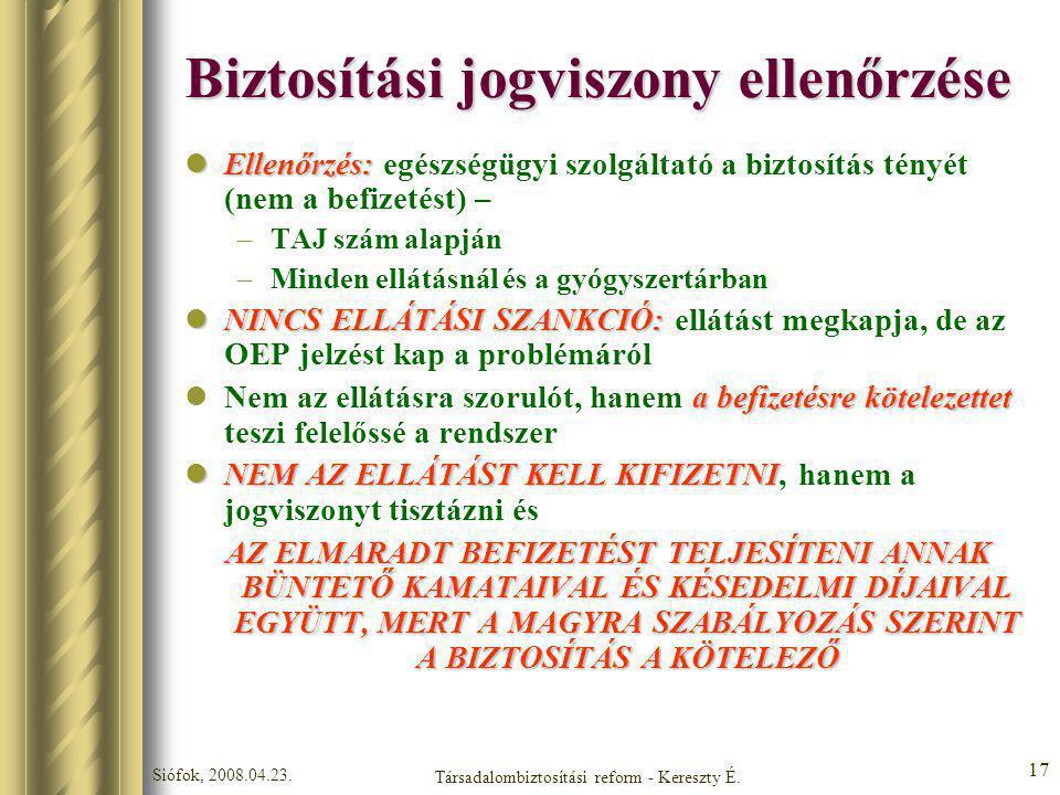 Siófok, 2008.04.23. Társadalombiztosítási reform - Kereszty É. 17 Biztosítási jogviszony ellenőrzése Ellenőrzés: Ellenőrzés: egészségügyi szolgáltató