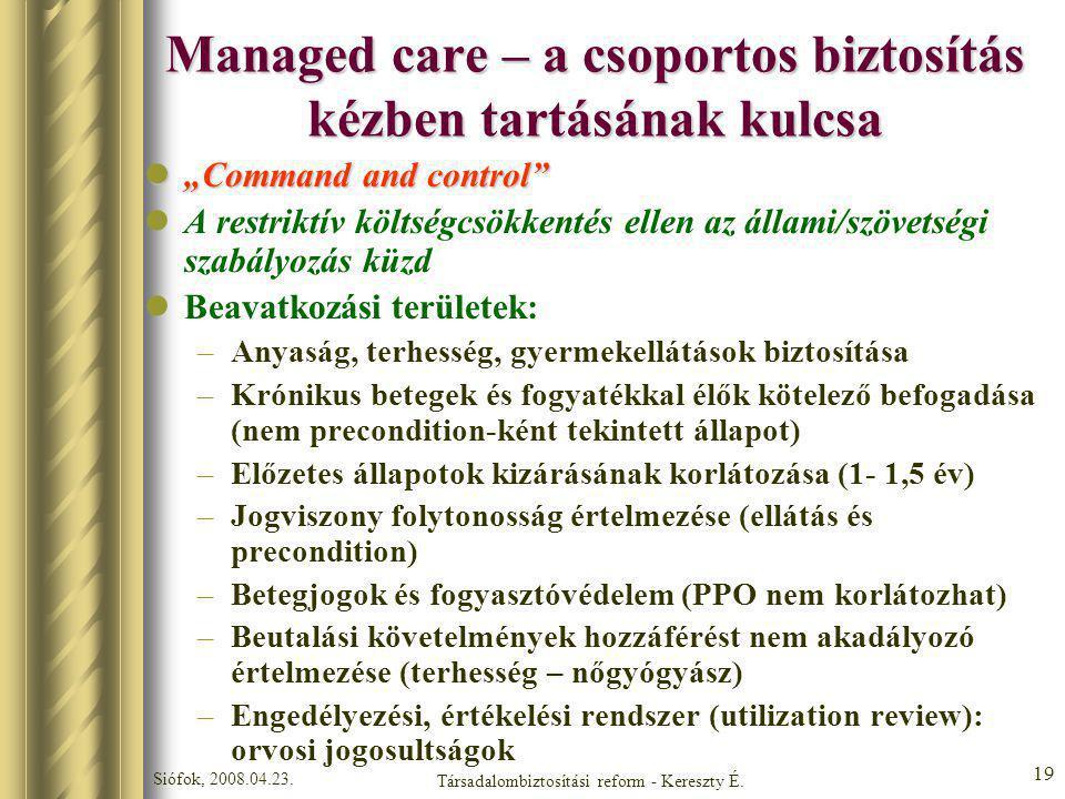 """Siófok, 2008.04.23. Társadalombiztosítási reform - Kereszty É. 19 Managed care – a csoportos biztosítás kézben tartásának kulcsa """"Command and control"""""""