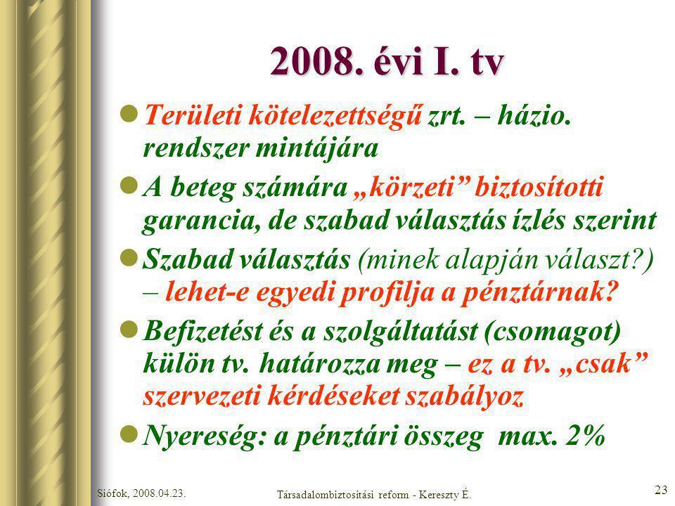 Siófok, 2008.04.23. Társadalombiztosítási reform - Kereszty É. 23 2008. évi I. tv Területi kötelezettségű zrt. – házio. rendszer mintájára A beteg szá